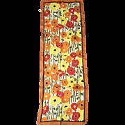 Vintage 1960s Modern Long Skinny Scarf Red Orange Yellow Poppies Flowers