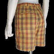 Vintage 1960s Haggar Snug Duds Forever Prest Plaid Shorts Gold Red