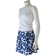 Authentic Vintage 1970s Navy White Mod Op Art Flower Print Skort
