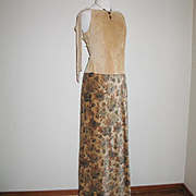 SALE Authentic Vintage 1970s Camel Tan with Dark Floral Print Velveteen Maxi Skirt S XS Brown