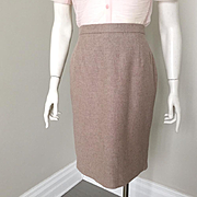 Vintage 1980s Escada Angora Wool Heathered Fawn Margaretha Ley Super Soft Skirt