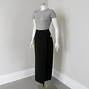 Vintage 1989 Eddie Bauer Long Black Wool Wrap Skirt Fringed Edge 8
