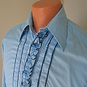 Vintage 1970s Powder Blue with Navy Blue Ruffled Tuxedo Menswear Shirt by After Six 15 x 33