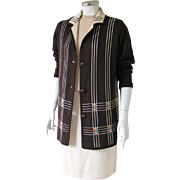 SALE Vintage 1960s Brown Geometric Woven Design Cardigan Sweater