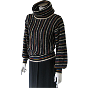Vintage 1970s Luxurious Mohair Cowl Sweater Black Multi Colored Stripes M L
