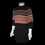 Vintage Authentic 1950s Cocoa Black Cream Nordic Mock Turtleneck Pullover Sweater Jumper M