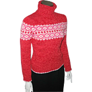 Vintage Early 90s Red Pink White Cozy Nordic Print Ski Sweater S XS