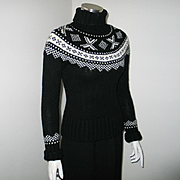Vintage Early 90s Black and White Cozy Lambswool Nordic Sweater Gap XS