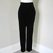 Vintage 1960s Black Velveteen Formal Event Trousers Pants Slacks High Waist XS S
