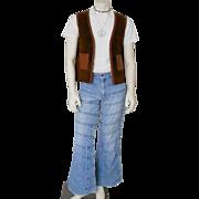 Vintage 1970s Horizontal Patch Faded Denim Bellbottom Flared Leg Blue Jeans