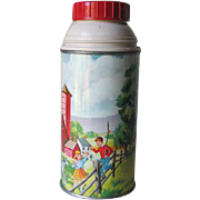 "Vintage ""The American Thermos"" with Farm Scene Barn Horses Children"