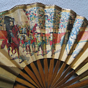 Antique Victorian Wooden Finger Souvenir Fan Habana Bullfight