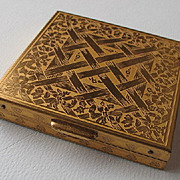 Vintage 1960s Gold Toned Floral Garden Lattice Compact with Mirror