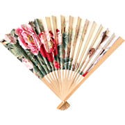 Vintage Bamboo Hand Fan with Exotic Print of Peonies, Orchids and Doves