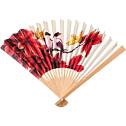 Vintage Bamboo Hand Fan with Exotic Print of Red Plumeria Flowers and a Pair of ...