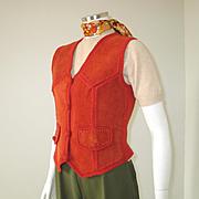 SALE Authentic Vintage 1970s Dark Orange Russet Suede Sweater Knit Vest XS S