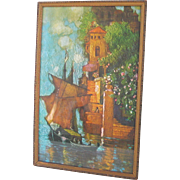 Vintage Print Sailing Ship in Exotic Port Orange Turquoise Green