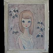 Vintage 1960s 1970s Igor Large Eyed Waif Print Wall Hanging