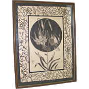 Vintage 1970s Jean McWhorter Columbine Flower Batik Numbered Proof Print Brown Cream