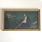 SOLD Vintage Framed Print of Jesus Christ Litho Print Portrait Mt Olive in the Moonlight