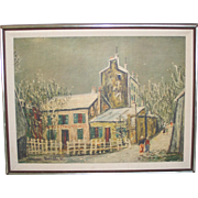 "Vintage Modern Print by Utrillo ""Christmas in Montmartre"" in Linen Matted Frame"
