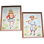 Vintage 1950s Pair of 3D Prints Wall Hangings Kids Children Majorette Baseball Player by Charl
