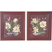 Vintage 1940s Twin Turner Chocolate Brown Floral Prints Wall Decor Art