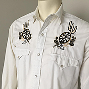 Vintage 1960s Black Gold on White Embroidered VLV Rockabilly Hillbilly Cowboy Western Wear Shi