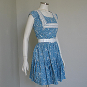 Authentic Vintage 1940s Novelty Print Blue and White Southwestern Western Patio Dress Set with