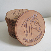 Vintage 1970s Embossed Leather Circular Coasters with Horse Design