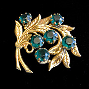 Vintage Brass Metal And Green Rhinestone Brooch Pin