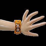 Vintage Leather And Rhinestones Cuff Bracelet