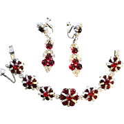 Vintage Kramer Red And Silver Bracelet And Unsigned Earrings