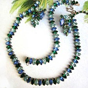 SALE Vintage Full Parure Sapphire and Emerald Colored Rhinestone