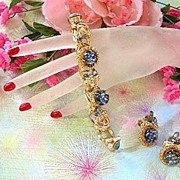 SALE 1950's Big Bold Art Glass Cat Eye Sapphire Glass Bracelet and Earrings