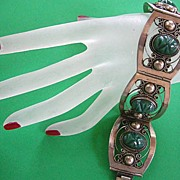 SALE Vintage Sterling Silver 925 Carved Green Onyx Aztec Head Mexican Bracelet