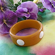 SALE Vintage Bakelite Bangle with Large White Dots Big and Chunky
