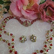 SALE Ruby Red and Aurora Borealis Designer Crystal 2 Row Vintage Necklace and earrings