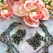 SALE Spectacular Vintage Carnival Glass Scalloped Necklace Shoulder Duster Earrings