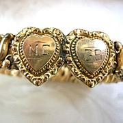 SALE WW2 Sweetheart Double Heart Engraved Expansion Bracelet