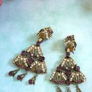 SALE Breathtaking Early 1900's Czech Huge Drippy Chandelier Amethyst  Simulated Pearl Earrings
