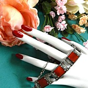 SALE Gorgeous Vintage Sterling Silver 925 marcasite and Carnelian Bracelet