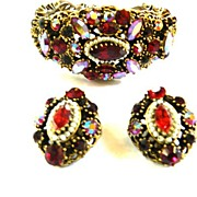 SALE Faux Pearls and Heavily Encrusted Weiss Vintage Ruby Red Clamper Bracelet and Earrings
