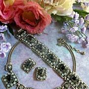 SALE Divalicious Vintage Huge Set Hematite Rhinestone Necklace Bracelet Earrings