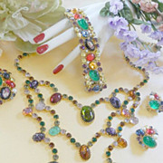 SALE Divalicious Magnificent Vintage Caviness Humongous  Rare Necklace Earrings Brooch Bracele