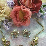 SALE Extravagant Vintage Hobe Massive sized pastel Necklace and Earrings