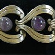 SALE Gorgeous Scalloped Amethyst Vintage Sterling Silver Mexico Bracelet and Earrings