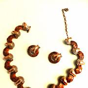 SALE Matisse Mid Century Modernism Copper Enamel Necklace Earrings
