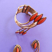 SALE Matisse Vintage Orientale Orange Enamel and Copper Bracelet and Earrings