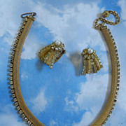 SALE Vintage Hobe Mesh and Rhinestone Over Lap Necklace and Earrings